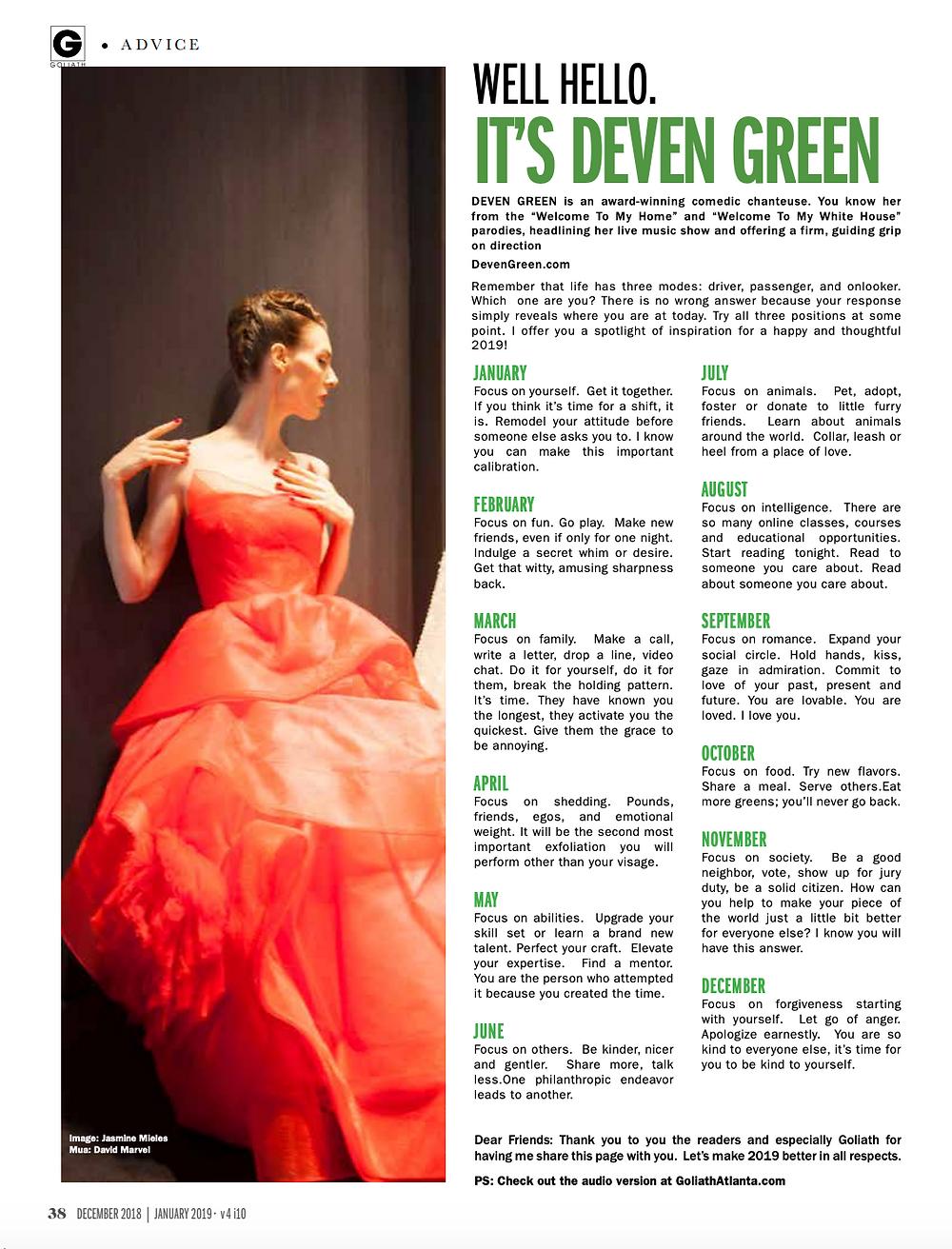 Deven Green goliath advice column