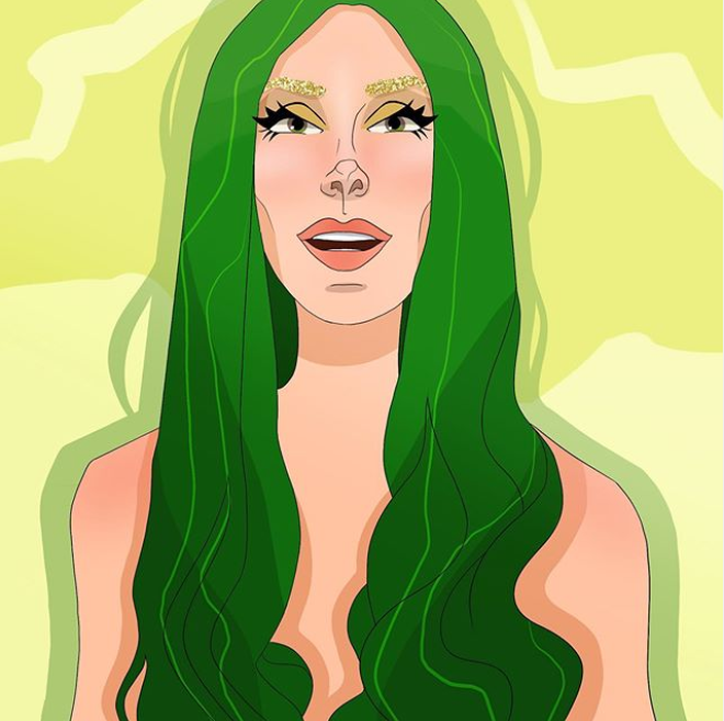 savannahberryart deven green hair