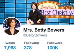 Betty Bowers 100k followers Twitter