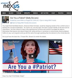 atheiest nexus patriotism