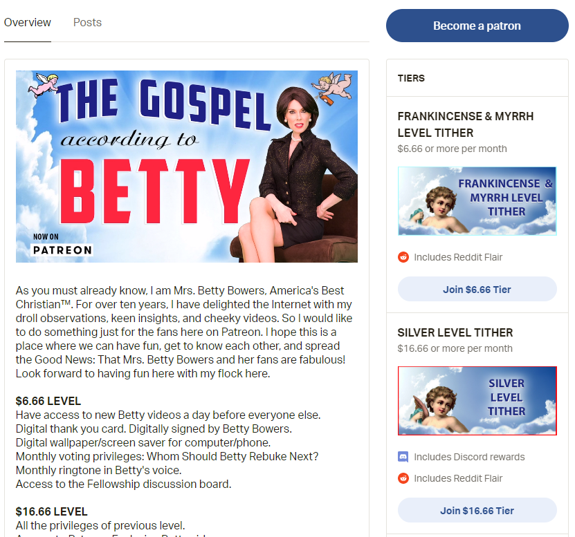 Betty Bowers Patreon gospel