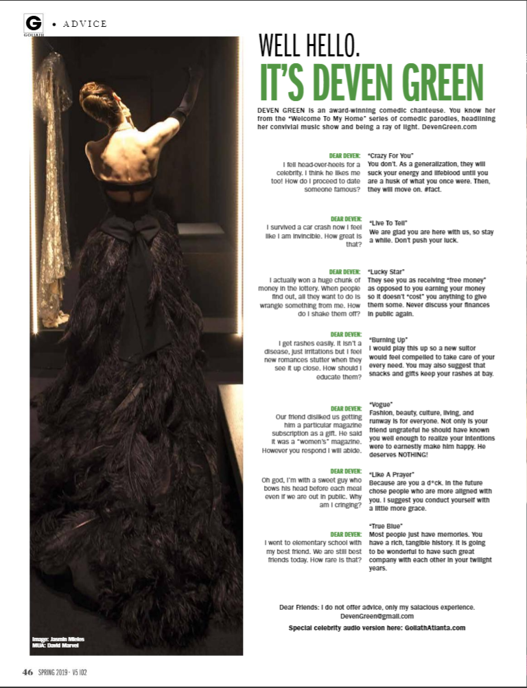 Deven Green Goliath Black Dress April 20