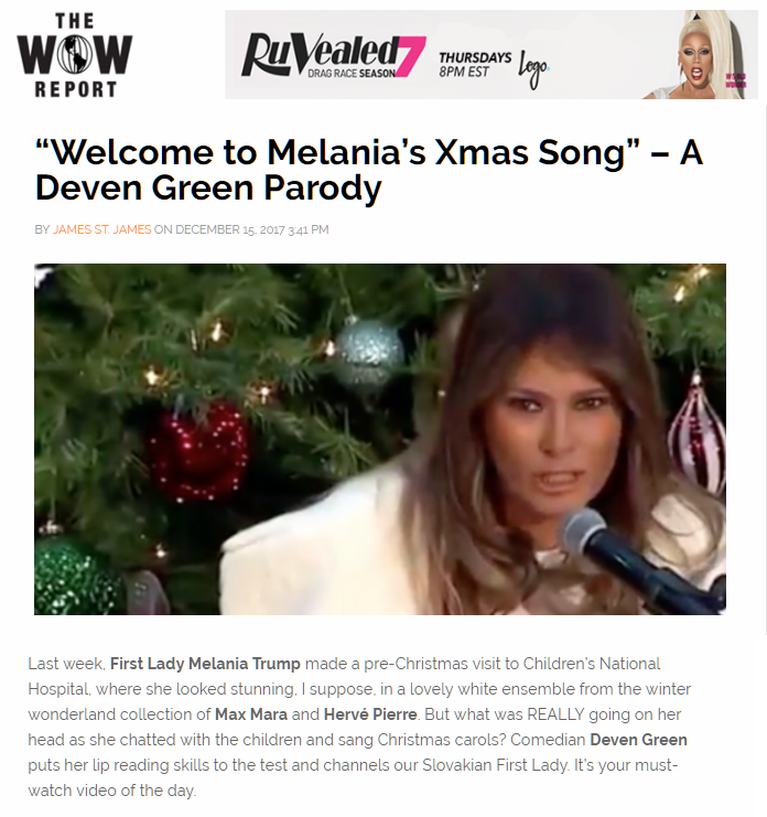 Deven Green The Wow Report World of Wonder Melania Xmas