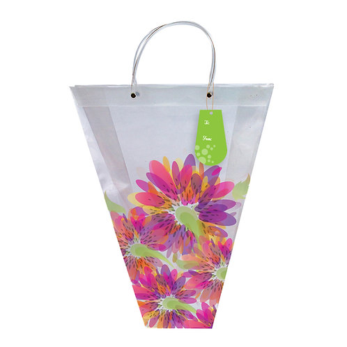 """18"""" SPRING BLOOM VASE BAG WITH HAND TAG"""
