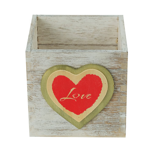 """5"""" Wooden Heart Cube w/Liner"""