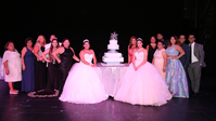 Quinceañeras with their families