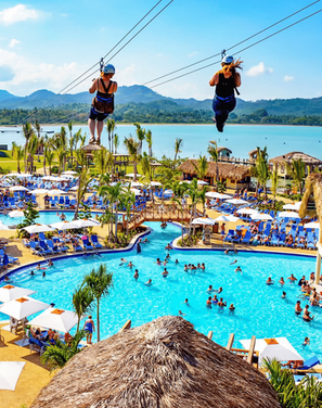 Zip line over the pool in Amber Cove!