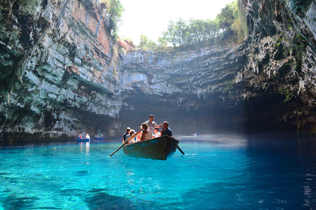 Melissani Cave in Argostoli, Greece
