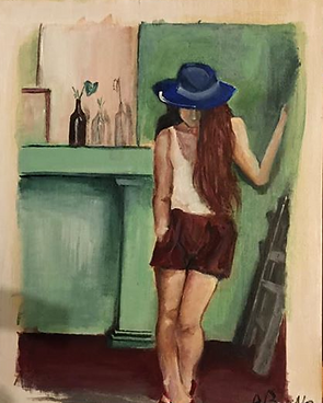 Girl at porch in casual stance acrylic painting on raw wood canvas