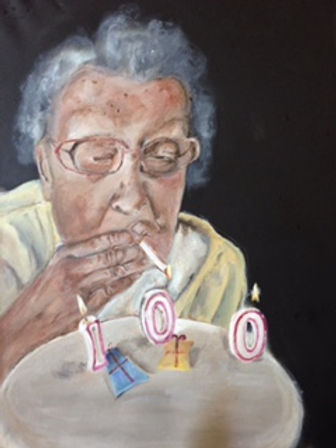 Old Woman lighting cigarette off her birthday cake