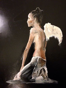 Angel girl with wings on knees and topless