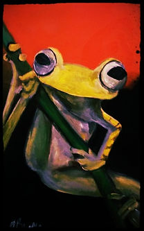bright green frog in acrylic