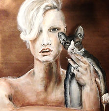 Naked girl with cat painting