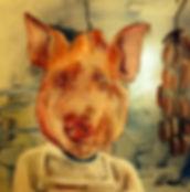 pigs head in butchers window