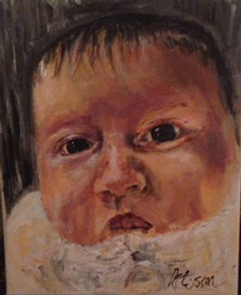 black haired baby in acrylic