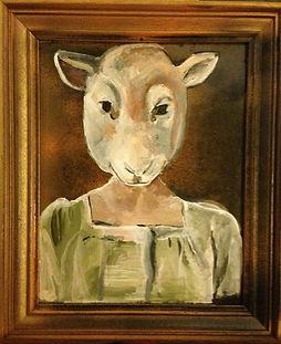 Sheep head on human girl