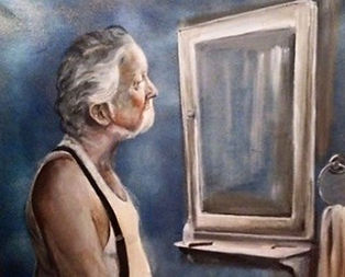 Old Man Shaving at the sink painting