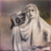 nun with getto blaster in black and white