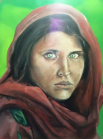 Afghan Girl commissioned painting