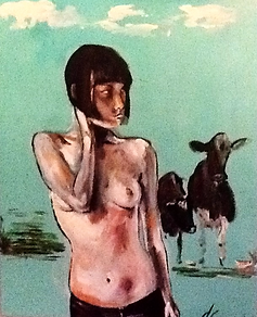 Topless girl in field of cows