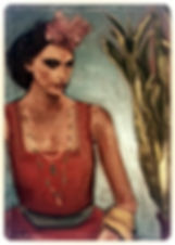Lady in shawl with headpiece on