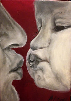 dad kissing baby in acrylic painting