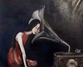 Girl listening to a gramaphone