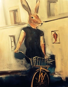 rabbit on a bike painting