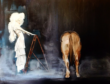 Gothic look lady standing on ladder next to horse