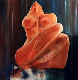 Naked Woman painting leaned back