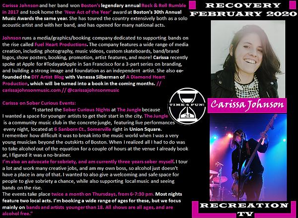 Carissa Johnson Profile Recovery Rec TV