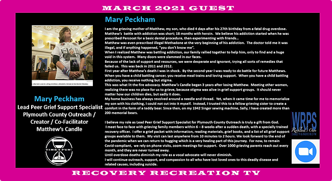Mary Peckham Profile Recovery Rec TV Mar