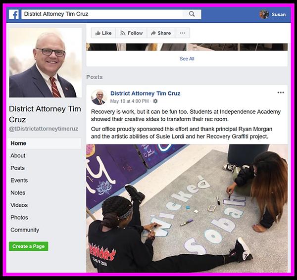 DA Cruz Facebook Recovery Graffiti Post.