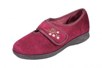 db wider shoes velcro ladies burgundy slipper comfort