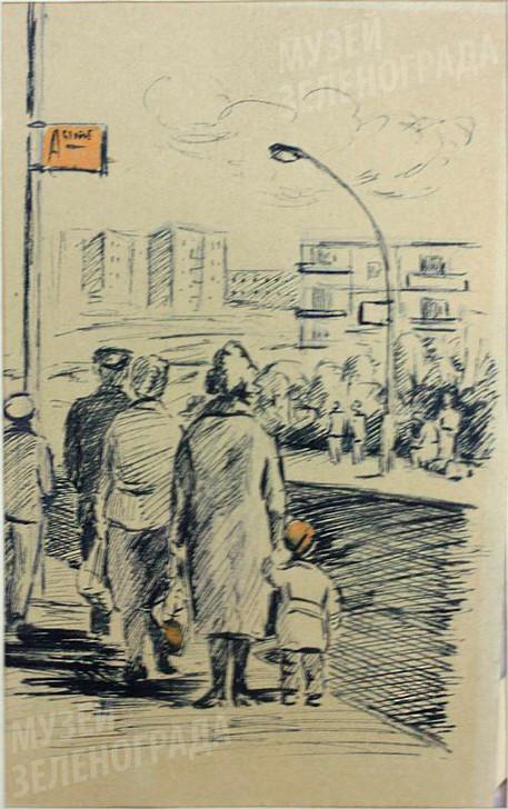 """Работа графическая. """"Первые автобусные остановки в городе"""", из серии """"Из моих рабочих блокнотов"""" (натурные зарисовки)."""