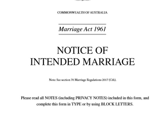 Notice required to get married in Australia and paperwork involved