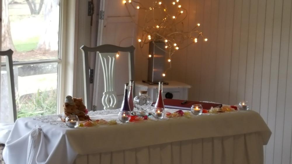 Wedding Ceremony Table Setup