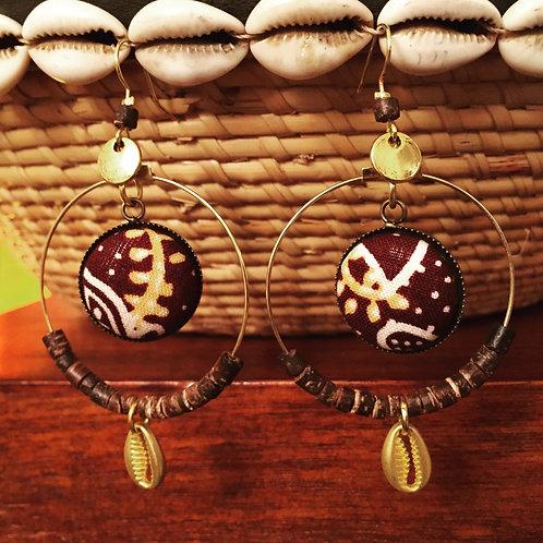Boucles d'oreilles ethniques en Batik