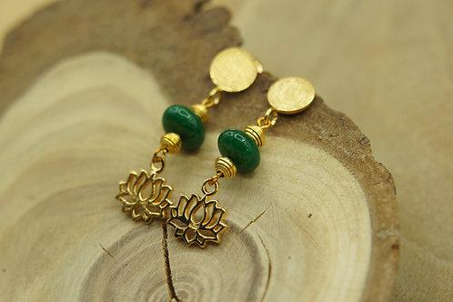 Boucle d'oreille Lotus d'or - Vermeil