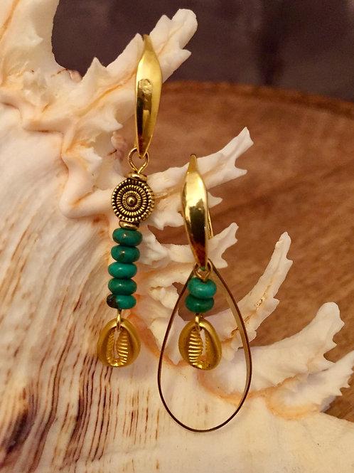 Boucles d'oreilles ethniques asymétriques Soleil Vert