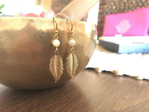 Boucles d'oreilles Plume d'or - Plaqué Or