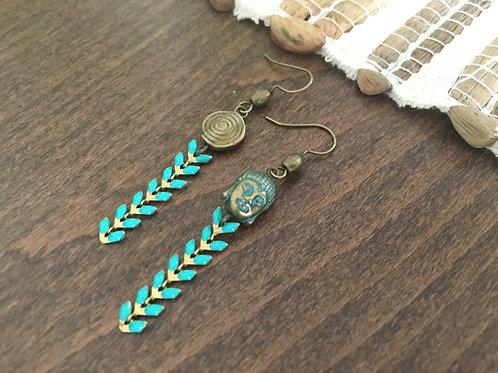 Boucles d'oreilles Epi de Turquoise