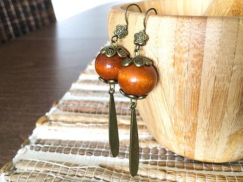 Boucles d'oreilles Nelia perle de bois