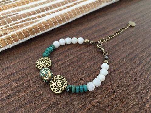 Bracelet pierres de Turquoise et Bouddha Bronze