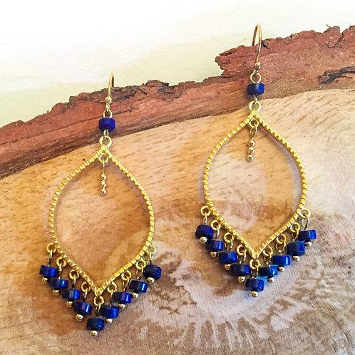 Boucles d'oreilles chandelier - Plaqué or et Lapis lazuli