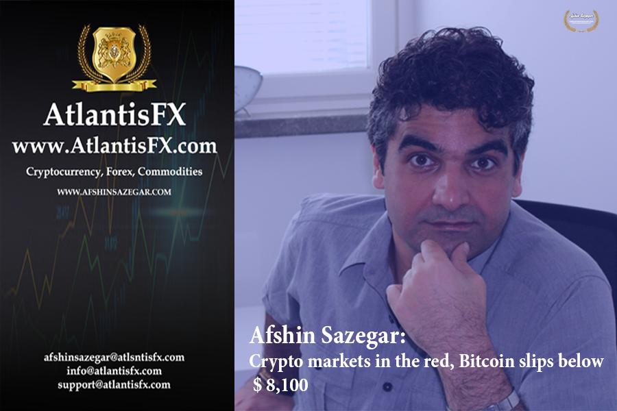 Afshin Sazegar   Crypto markets in the red, Bitcoin slips below $ 8,100