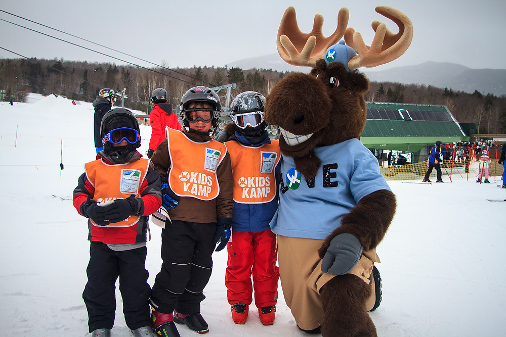 Waterville Valley ski school kids get a visit from Bruce the Moose