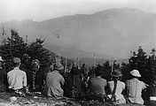 early image of hikers in Waterville Valley