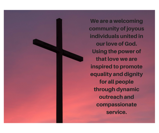 Church's Mission Statement overlayed on a cross