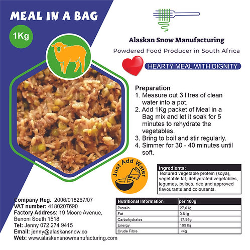Meal in a bag Mutton - balanced rice and soya mince meal at low cost